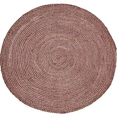 Round Rose Woven Hemp Rug