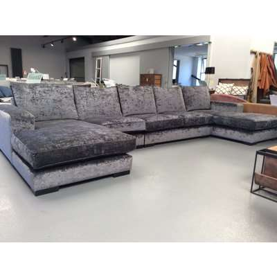 Ashdown large U shape Lounger sofa in Oneda Anthracite velvet