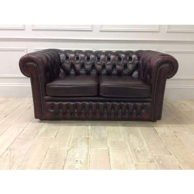 Austin 2 Seater Chesterfield Sofa in Antique Red Leather