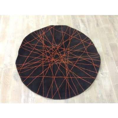 Brown and Orange Web Round Rug (TW)