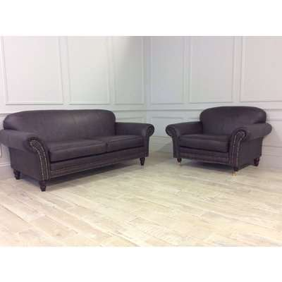 Chelsea 1.5 Seater Chair with Sudding and Castors Plus 3 Seater Sofa with Studding in Saloon Dark Brown Leather