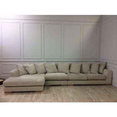 Devon Large Chaise Corner Sofa in Discontinued Habitat Chenille Mist Fabric