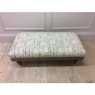 Dorset Footstool in Arbon Putty fabric & Cotswold Leather