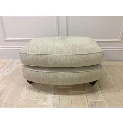 Duresta Lansdowne Footstool in Premium Bergman Swedish Grey Fabric with castors