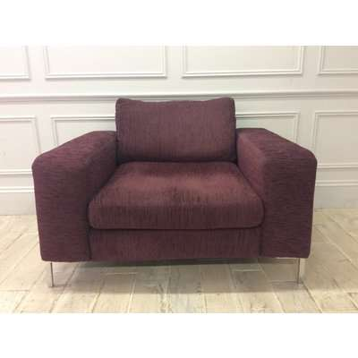 Kingly 1.5 Seater Sofa in Warwick Kiplin Mulberry Fabric with Chrome Legs