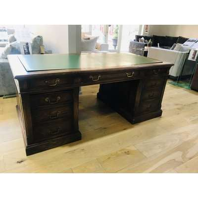 Large solid wood Work Desk with Storage and leather top