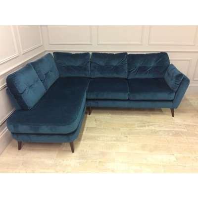 Studio Corner Sofa with Left Chaise in Lumino Velvet - Teal (B)