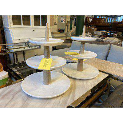 Two Marble Cake Stands with Three Tiers