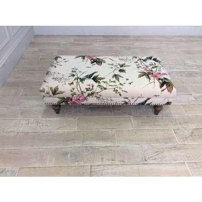 Wiltshire Fabric Footstool in Stanton Willow Floral Linen