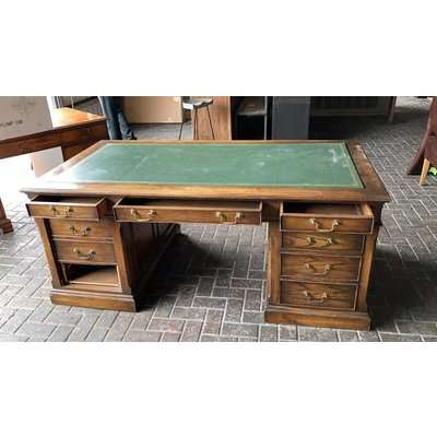 Wooden Captains Desk with Drawers and Green Top