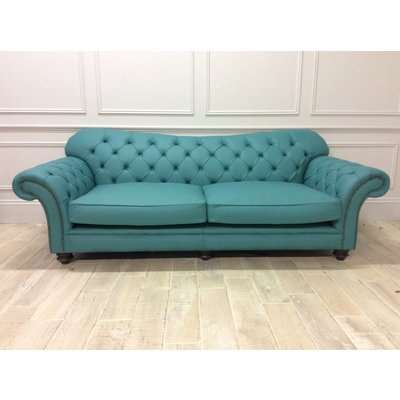 Woodford 3.5 Seater Sofa in Shelly Leather Dark Teal