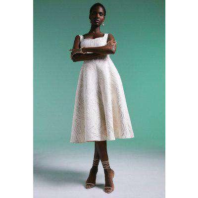 Abstract Animal Jacquard Woven Maxi Dress