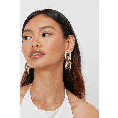 Chunky Square Link Drop Earrings