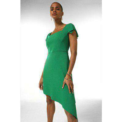 Compact Stretch Viscose Asymmetric Hem Dress