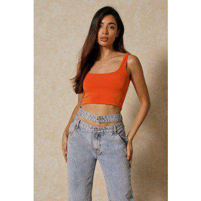 Double Layer Square Neck Crop Top