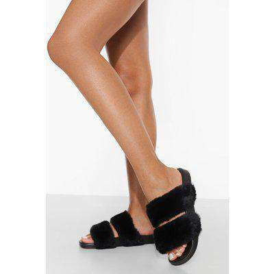Double Strap Fluffy Sliders