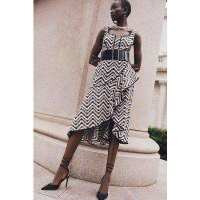 Geo Jacquard Wrap Belted Maxi Woven Dress