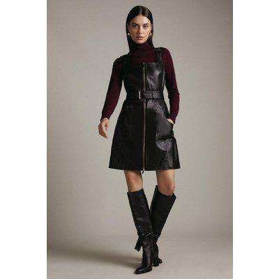 Leather Buckle Detail Square Neck Zip Dress
