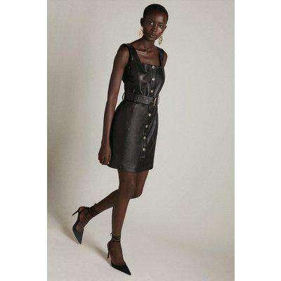 Leather Button Up Square Neck Mini Dress