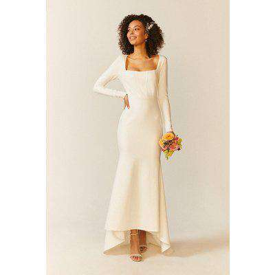 Long Sleeve Maxi Dress With Trail