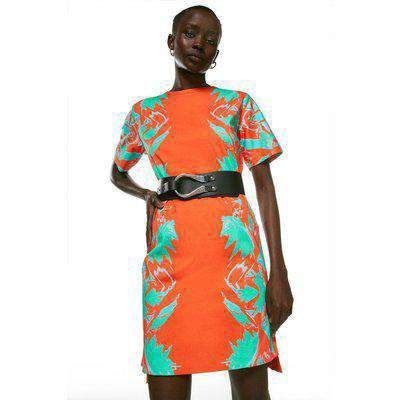 Mirror Print Cotton Sateen Belted Dress