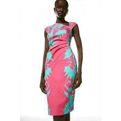 Mirror Printed Cotton Sateen Pencil Dress