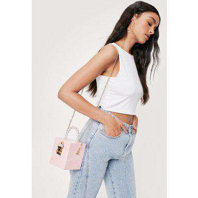 Pearl Inspired Handle Crossbody Box Bag