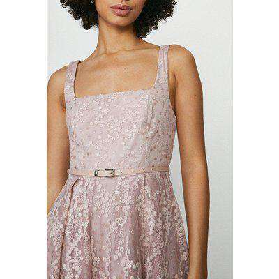 Square Neck Belted Lace Maxi Dress