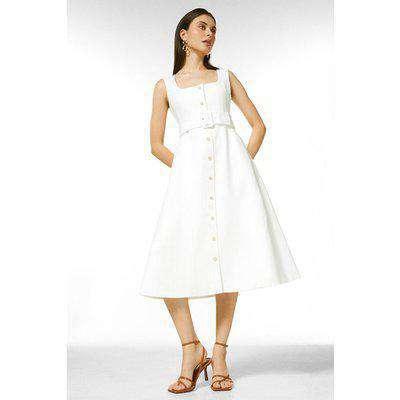 Square Neck Safari Belted Midi Dress