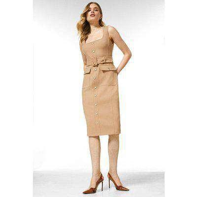 Square Neck Safari Belted Tailored Dress