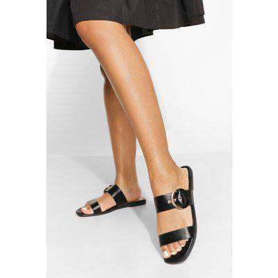 Wide Fit Buckle Double Strap Sandals
