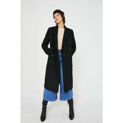 Wool Mix Long Line Double Breasted Tailored Coat