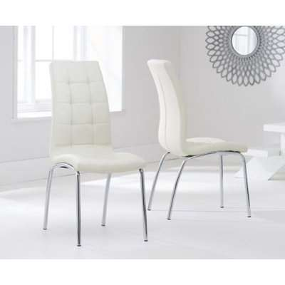 Alonzo PU Upholstered Cream With Chrome Legs Dining Chairs Set of 2