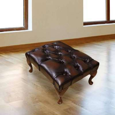 Chesterfield Queen Anne footstool Antique Brown Real Leather