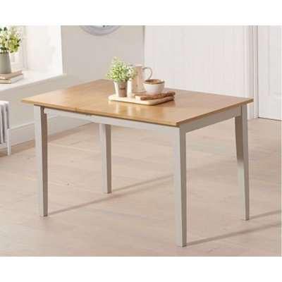 Battista Painted Grey Solid Hardwood Light Oak Dining Table