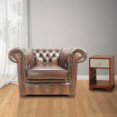 Bexley Club Chair Antique Leather Chesterfield, Brown