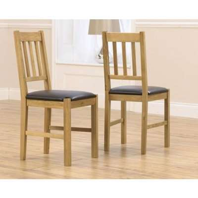 Bianca Bianca Solid Oak Dining Chair With Brown Pu Seat Set Of 2