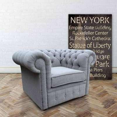 Buy Grey Linen Fabric Chesterfield armchair | DesignerSofas4U