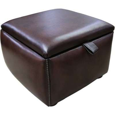 Chesterfield 1930's Storage Box Pouffe Antique Brown Leather…