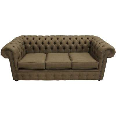 Chesterfield 3 Seater Settee Charles Linen Coffee Brown Sofa Offer