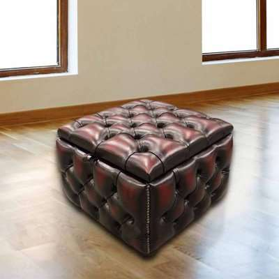 Chesterfield Buttoned Storage Box Pouffe Antique Oxblood…