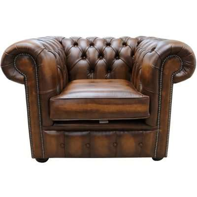 Chesterfield Low Back Club Chair Antique Tan Real Leather