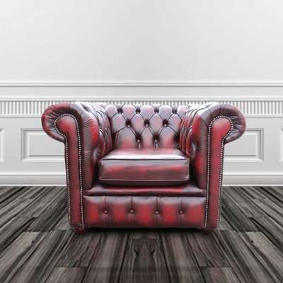 Chesterfield Low Back Club Chair Shelly White Real Leather