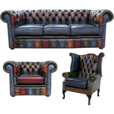 Chesterfield Patchwork Antique 2 Seater + Club Chair + Queen…