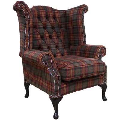 Chesterfield Queen Anne Wing Chair High Back Armchair Galleria…