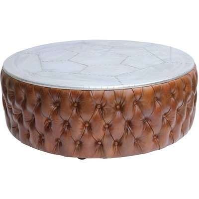 Chesterfield Round Aviator Leather Coffee Table