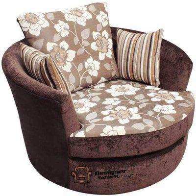 Cuddler Swivel Chair | Snuggle Swivel Armchair Argent Brown Fabric