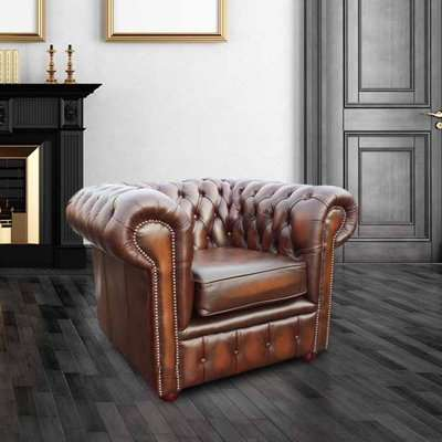 Chesterfield Club Chair Antique Tan Real Leather