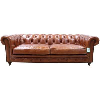 Earle Grande Chesterfield 3 Seater Vintage Tan Real Leather Sofa