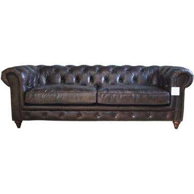 Earle Grande Chesterfield 3 Seater Tobacco Brown Real Leather Sofa